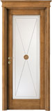 cod. 2-12 alder stained antique light walnut - glass le cifre with insert, flat doorhead and standard casings