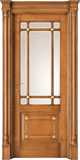 code Q-15 alder stained antique light walnut with gold details, white satin glass clear bevelled - portale with flat doorhead and antique details