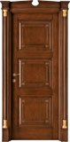 code Q-32 alder stained antique dark walnut with antique details - portale with broken gable doorhead and gold details