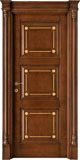 code Q-32 alder stained antique dark walnut with gold details - portale with flat doorhead and antique details