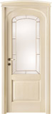 code 8R-13 alder veneziana finish - brass beading glass - bowed doorhead with standard casings