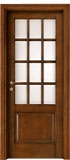 code 2-19 alder stained antique dark walnut - white satin, clear bevelled glass - smooth casings