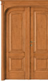 code 8R-32 alder stained antique light walnut, double-leaf door with flat doorhead with turned blocks and  standard casings