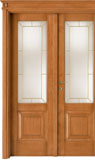 code 2-30 alder stained antique light walnut, double-leaf door with brass beading glass, flat doorhead with turned blocks and standard casings