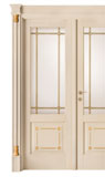 code Q-13 alder veneziana finish with gold details - double-leaf door with double brass beading glass, portale with flat doorhead and gold details