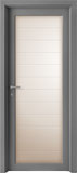 code L-12 alder grey lacquared - etched glass mod. horizontal lines - flat casings
