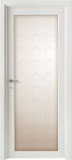 cod. L-12 alder white lacquered - etched glass mod. circles - flat casings