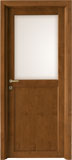 code L-13 alder stained dark walnut - white satin glass, flat casings