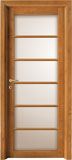 code L-20 alder stained light walnut - white satin glass - flat casings