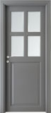 code 1-22 alder grey lacquered finish - white satin, clear bevelled glass - smooth casings