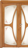 code C-31 alder stained antique light walnut - double-leaf door with glass satin and with ribbons motifs (type B)