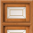intarsio - door code 2-13 with transom window and double brass beading glass - alder stained antique light walnut, standard casings