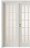cod. 2-34 alder white lacquered finish - double-leaf door with white satin glass, clear bevelled - standard casings