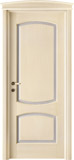 code 6-14 alder veneziana finish with light blue platband - bowed doorhead with standard casings