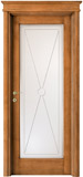 code 2-12 alder stained antique light walnut - glass le cifre with bevel detail, flat doorhead and standard casings