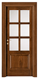 code P-16 with high bottom panel - tulipwood stained dark walnut - white satin,clear bevelled glass - smooth casings 9cm wide