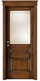 code P-34 tulipwood antique dark walnut - brass beading glass - flat doorhead with smooth, standard casings