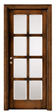 code P-28 tulipwood antique dark walnut - white satin, clear bevelled glass - smooth, standard casings