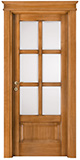code P-17 with low bottom panel - tulipwood antique light walnut - white satin, clear bevelled glass - flat doorhead with smooth casings 9 cm wide