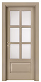 code P-17 with low bottom panel - tulipwood lacquered Ral 1019 - white satin, clear bevelled glass - smooth casings 9 cm wide