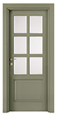 code P-16 with high bottom panel - tulipwood lacquered Ral 7003 - white satin, clear bevelled glass - smooth casings 9 cm wide