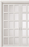 code 1-45 alder white lacquered finish - double-leaf sliding door with white satin glass, clear bevelled - smooth casings