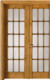 code 2-34 alder cherry base - double-leaf door with cattedrale glass, 90° casings