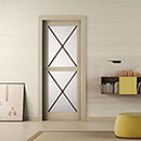 riquadri - doors code R-22 alder beige lacquered finish - white satin glass
