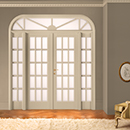 I Laccati double door code 2-20 with side-lights and arched transom window