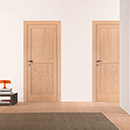 riquadri - doors code R-42 oak natural finish with frame flush to the wall and invisible hinges